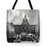 Prague Wenceslas Square and National Museum Tote Bag by Christine Till