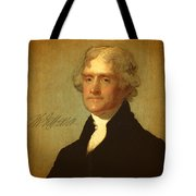 President Thomas Jefferson Portrait And Signature Tote Bag by Design Turnpike