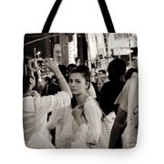 Pretty Girl In The Crowd - Times Square - New York Tote Bag by Miriam Danar