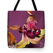 Pretty Orchid On Pink Tote Bag by Kaye Menner