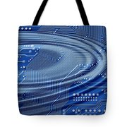 printed circuit with waves Tote Bag by Michal Boubin