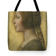 Profile Of A Young Fiancee Tote Bag by Leonardo Da Vinci