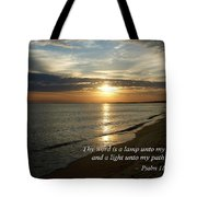 Psalm 119-105 Your Word Is A Lamp Tote Bag by Susan Savad