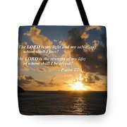 Psalm 27 1 The Lord Is My Light Tote Bag by Susan Savad
