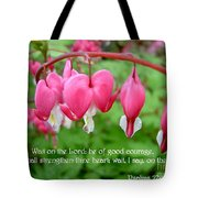 Psalms 27 14 Bleeding Hearts Tote Bag by Sara  Raber