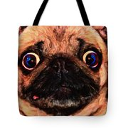 Pug Dog - Painterly Tote Bag by Wingsdomain Art and Photography