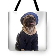 Pug In Sweater And Hat Tote Bag by Edward Fielding