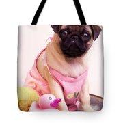Pug Puppy Bath Time Tote Bag by Edward Fielding