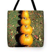 Pumpkins In A Row Tote Bag by Anonymous