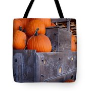 Pumpkins On The Wagon Tote Bag by Kerri Mortenson