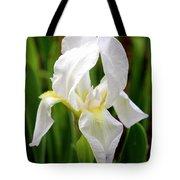 Purely White Iris Tote Bag by Kathy  White