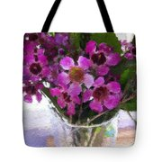 Purple Flowers Tote Bag by Linda Woods
