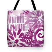 Purple Garden - Contemporary Abstract Watercolor Painting Tote Bag by Linda Woods