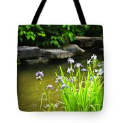 Purple irises in pond Tote Bag by Elena Elisseeva