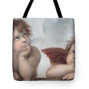 Putti Detail From The Sistine Madonna Tote Bag by Raphael