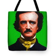 Quoth The Raven Nevermore - Edgar Allan Poe - Painterly - Green - With Text Tote Bag by Wingsdomain Art and Photography