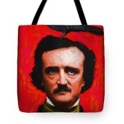 Quoth The Raven Nevermore - Edgar Allan Poe - Painterly - Red - Standard Size Tote Bag by Wingsdomain Art and Photography