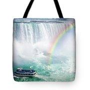 Rainbow And Tourist Boat At Niagara Falls Tote Bag by Elena Elisseeva