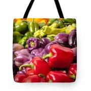 Rainbow Of Peppers Tote Bag by Teri Virbickis