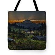 Rainier Sunset Basin Tote Bag by Mike Reid