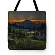 Rainier Sunset Basin Tote Bag by Mike Reid