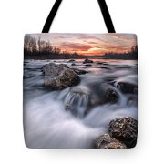 Rapids on sunset Tote Bag by Davorin Mance