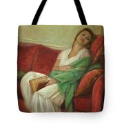 Reclining With Book Tote Bag by Sarah Parks