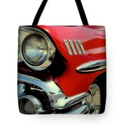 Red 1958 Chevrolet Impala Tote Bag by David Patterson