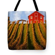 Red Barn In Autumn Vineyards Tote Bag by Garry Gay