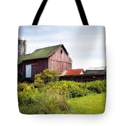 Red barn in Groton Tote Bag by Gary Heller