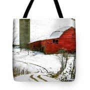 Red Barn In Snow Tote Bag by John Haldane