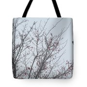 Red Berries And Lamppost Tote Bag by Tina M Wenger