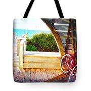 Red Bike On Beach Boardwalk Tote Bag by Jane Schnetlage
