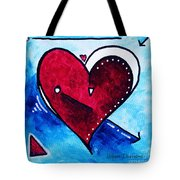 Red Blue Heart Love Painting Pop Art Joy by Megan Duncanson Tote Bag by Megan Duncanson