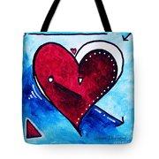 Red Blue Heart Love Painting Pop Art Joy By Megan Duncanson Tote Bag by Megan Duncanson