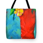 Red Boot With Flowers Tote Bag by Patricia Awapara