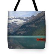 Red Canoes On Lake Louise Tote Bag by Teresa Zieba