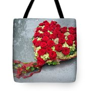 Red Flower Heart With Roses - Beautiful Wedding Flowers Tote Bag by Matthias Hauser
