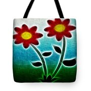 Red Flowers - Digitally Created And Altered With A Filter Tote Bag by Gina Lee Manley