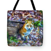 Red Fox At Home Tote Bag by John Haldane