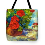 Red Geraniums I Tote Bag by Peggy Wilson