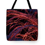 Red Light In Snow-heavy Grass Tote Bag by Mick Anderson
