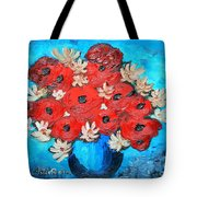 Red Poppies And White Daisies Tote Bag by Ramona Matei