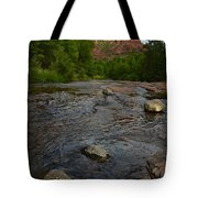 Red River Crossing Under Cathedral Rock Tote Bag by Dave Dilli
