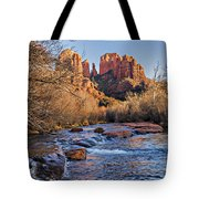 Red Rock Crossing Winter Tote Bag by Mary Jo Allen