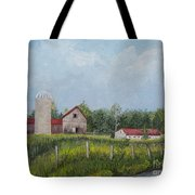 Red Roof Barns Tote Bag by Reb Frost
