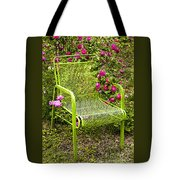 Red Roses Green Chair Tote Bag by Lena Auxier