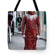 Red Sequined Mime Tote Bag by Kathleen K Parker