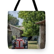Red Tractor On A French Farm Tote Bag by Georgia Fowler
