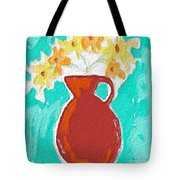 Red Vase Of Flowers Tote Bag by Linda Woods